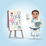 Presenting astronaut with paperboard -  Stock Images