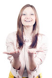 Presenting by Beautiful young woman isolated Royalty Free Stock Photography