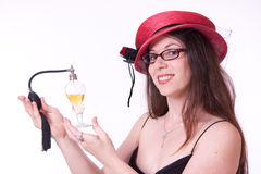 Presenting a bottle of perfume Royalty Free Stock Photography