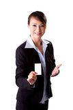 Presenting business Card. Young successful female business woman presenting business card Stock Photos