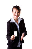 Presenting business Card. Young successful female business woman presenting business card Royalty Free Stock Photos
