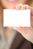 Presenting a businesscard - closeup Stock Image