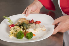 Presenting dish Stock Image