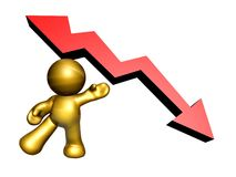 Presenting the down trend arrow Stock Photo
