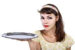 Presenting an Empty Tray Royalty Free Stock Image