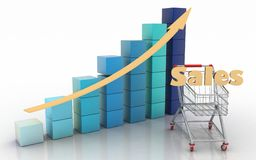Presenting a getting better economy and increase of business income from the sale of commodities and services Stock Image