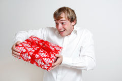 Presenting a gift Stock Images