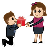 Presenting a Gift Box to Girl Vector Royalty Free Stock Photography
