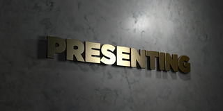 Presenting - Gold text on black background - 3D rendered royalty free stock picture Royalty Free Stock Image