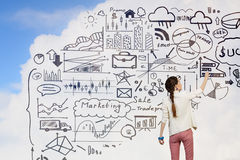 Presenting her business success plan . Mixed media Stock Images