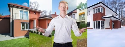 Presenting houses. Young handsome architect presenting his houses stock photos