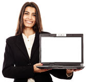 Presenting a laptop, copyspace on the monitor Royalty Free Stock Photo