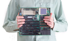 Presenting  motherboard Stock Photo
