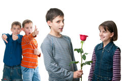 Presenting a red rose Royalty Free Stock Image