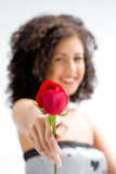 Presenting red rose. Sincere beautiful young woman with brown curly wild hair and bare shoulders presenting red rose, isolated Stock Images