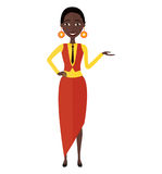 Presenting smiling african woman.Vector isolated on a white back royalty free stock photography
