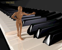 Presenting, welcoming figure walkin on piano keyboard Stock Image