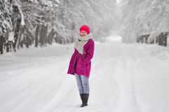 Presenting winter fashion Royalty Free Stock Photography