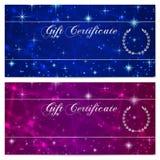Presentkort-, kupong-, kupong-, belöning- eller gåvakortmall med brusanden som blinkar stjärnatextur (modellen) Blå natthimmel Royaltyfria Bilder