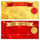 Presentkort-, kupong-, kupong-, belöning- eller gåvakortmall med brusanden som blinkar stjärnatextur, rött band (banret) Arkivbilder