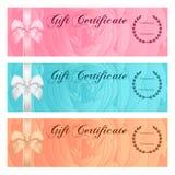 Presentkort-, kupong-, kupong-, belöning- eller gåvakortmall med den blom- rosmodellen, pilbåge (bandet) Steg blommabakgrundsupps vektor illustrationer