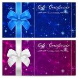 Presentkort-, kupong-, kupong-, belöning- eller gåvakortmall med brusanden som blinkar stjärnatextur, band Mörk natthimmel Royaltyfri Fotografi