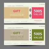 Presentkort kupongmall, lägenhetdesign vektor illustrationer