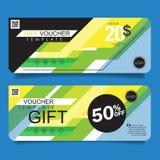 Presentkortdesignbegrepp för gåvakupongen, inbjudan, certifikat, reklamblad, baner, biljett Arkivfoton