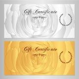 Presentkortet kupongen, kupongen, belöning-/gåvakortmall med steg (blommamodellen) Uppsättning av blom- kvinnlig bakgrund Royaltyfri Foto