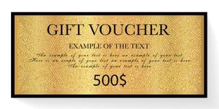 Presentkortet presentkort, den guld- biljetten med den stjärnklara gnistrandet blänker bakgrund vektor illustrationer