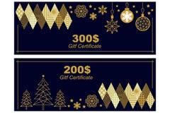 Presentkortmall Guld- prydnader på svart bakgrund vektor illustrationer