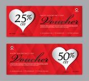 Presentkortmall, kupong, rabatt, för lyckliga valentin dag, Sale baner, horisontalorientering, rabattkort, titelrader royaltyfri illustrationer