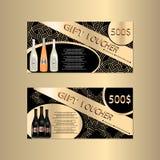 Presentkortmall med Sparkls och vinflaskor för din Designt vektor illustrationer