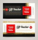 Presentkortmallen med blänker guld Fotografering för Bildbyråer