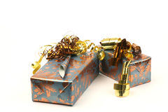 Presents. Decorated with gold ribbons isolated on white Stock Image