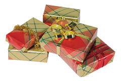 Presents. Bright shiny presents wrapped ready for giving royalty free stock photography