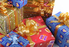 Presents. Christmas presents in the color packing Stock Photos