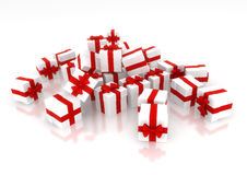 Presents. White gifts with red ribbon isolated on white background Royalty Free Stock Photos