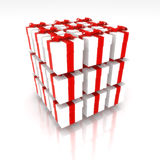 Presents. Cube made o White gifts with red ribbon isolated on white background Royalty Free Stock Image