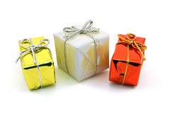 Presents. Holiday packages isolated against a white background stock image