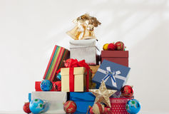 Pile of wrapped presents. Presents with ornaments for season greeting occasion Stock Photos