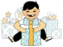 Presents. Illustration of a young boy with presents stock illustration