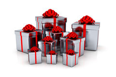 Presents - 3d render. 3D render of shiny presents isolated on white Royalty Free Stock Images