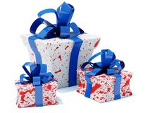 Presents. With blue bow isolated on white Stock Photos