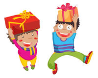 Presents!. Illustration of a boy and girl with presents Stock Image