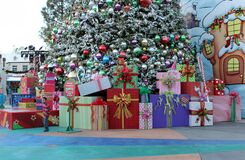 Free Presents And A Little Boy Near The Grinchmas Christmas Tree At Universal Studios Hollywood In LA Stock Image - 205025441