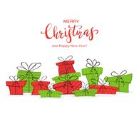 Free Presents And Lettering Merry Christmas And Happy New Year On White Background Stock Photo - 129543320