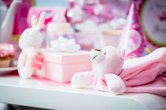 Presents on baby shower party Royalty Free Stock Photos