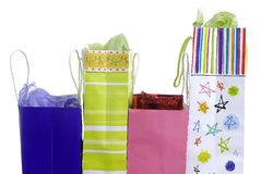 Presents in a bag. Colorful bags with presents for somebody await to be opened Royalty Free Stock Images