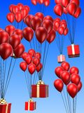 Presents and balloon. 3d rendered present and  balloon illustration Stock Photo